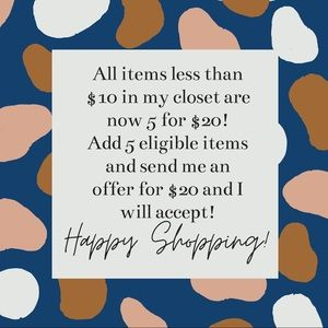 5 for $20 Sale!!!